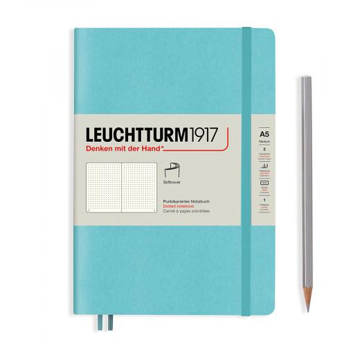 Carnet de notes rigide 14,5 x 21 cm - aquamarine / pages pointillées
