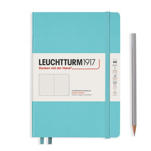 Carnet de notes souple 14,5 x 21 cm - aquamarine / pages pointillées
