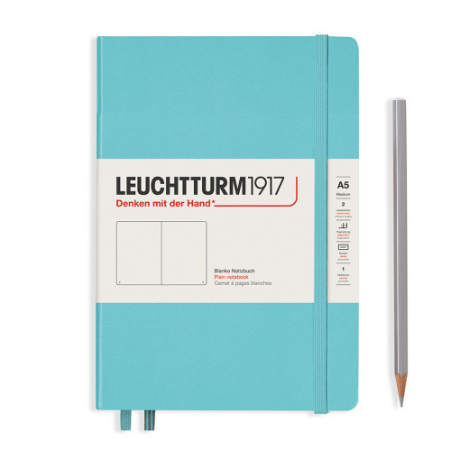 Carnet de notes souple 14,5 x 21 cm - aquamarine / pages blanches