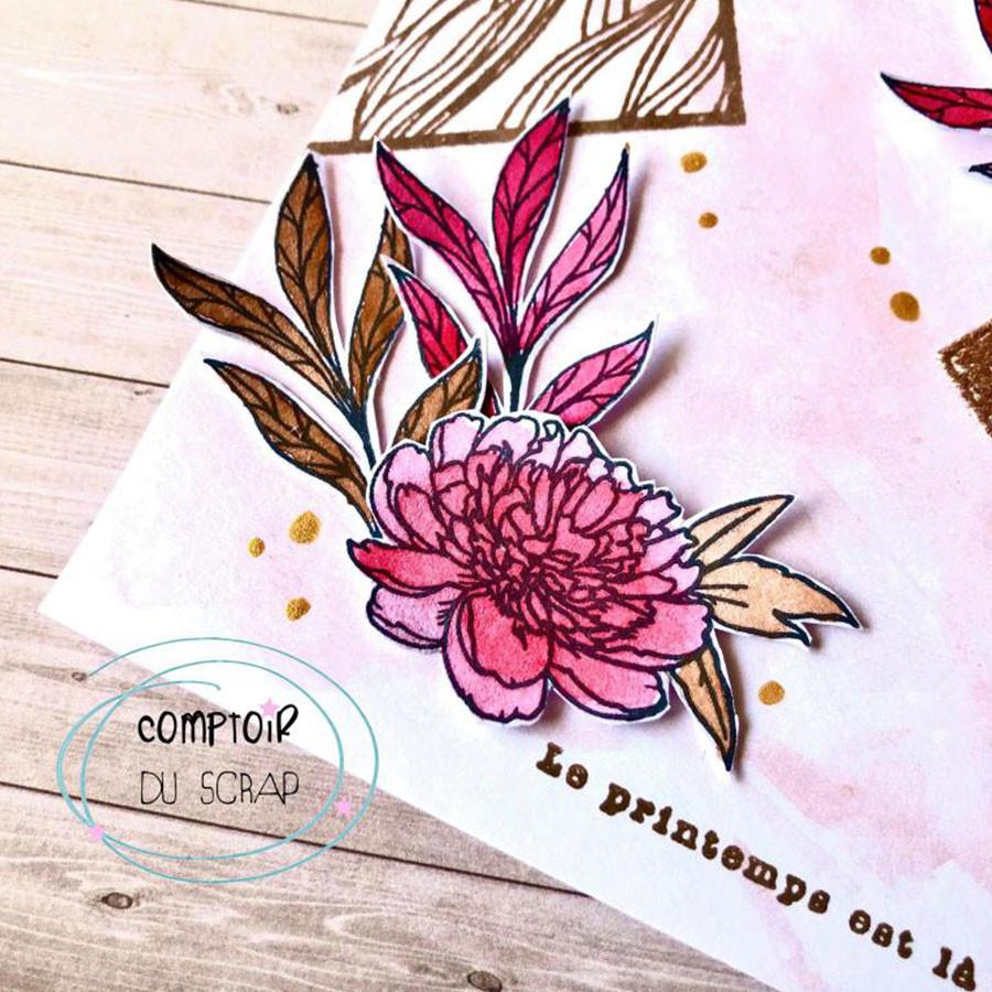 Tampons transparents Palette fleurie - 9 pcs
