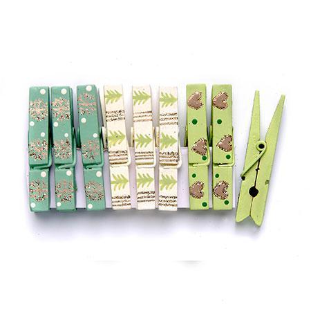 9 Pinces en bois - Vert / Turquoise / Beige #1 - h. 4,4 cm
