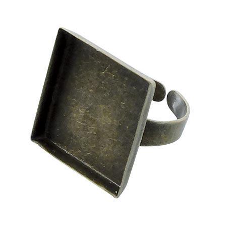 Bague carrée creuse - Bronze - 20 x 20 mm