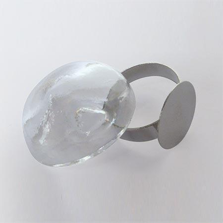 Bague globe oval - Argent - 20 x 25 mm