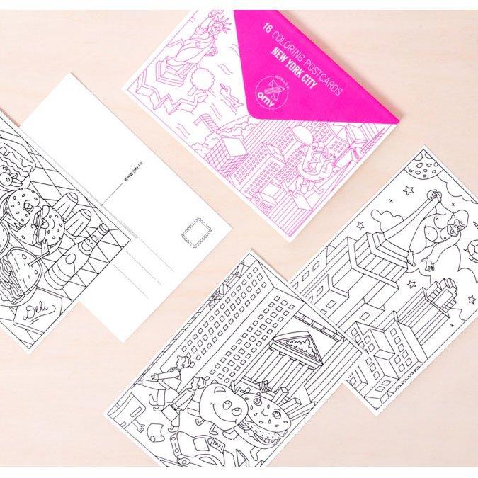 Cartes postales à colorier - New-York City - 16 pcs