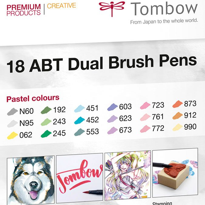 18 feutres ABT Dual Brush double pointe - Pastels