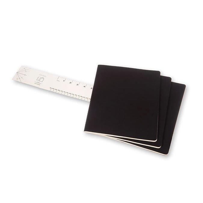 Cahier de note XXL - Couverture noire - Pages lignées - 21,6 x 27,9 cm - 3 pcs