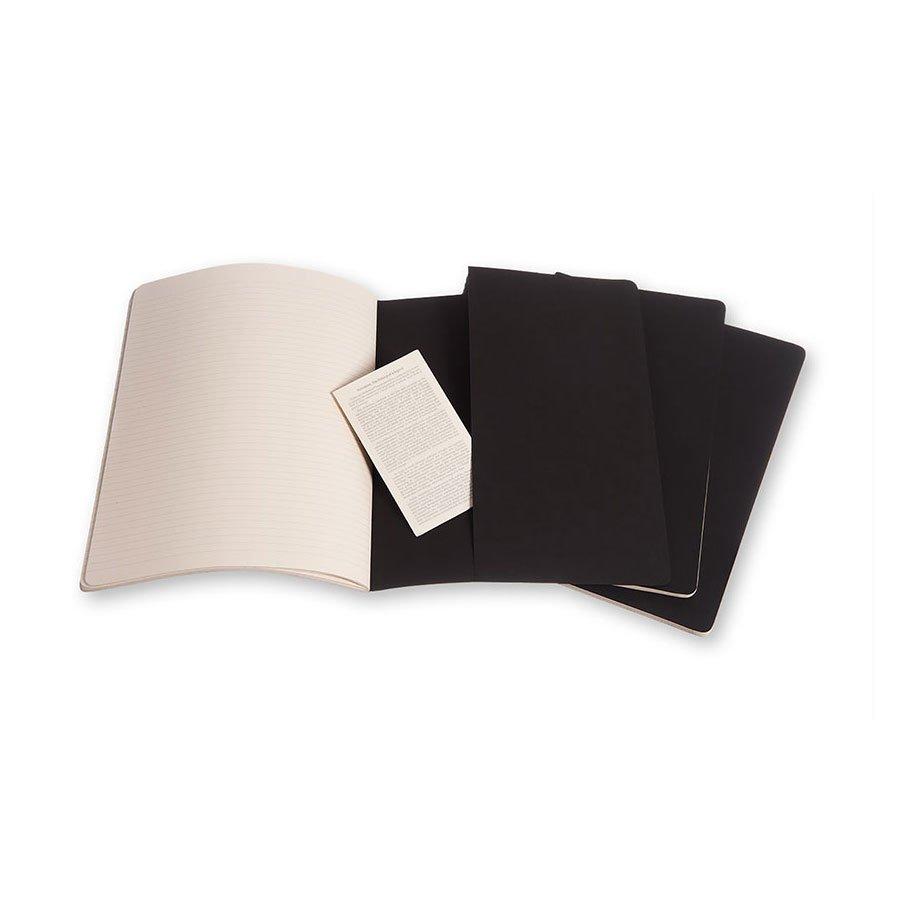 Cahier de note XXL - Couverture noire - Pages blanches - 21,6 x 27,9 cm - 3 pcs