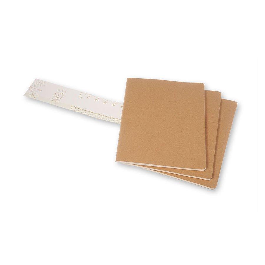 Cahier de note XXL - Couverture kraft - Pages blanches - 21,6 x 27,9 cm - 3 pcs