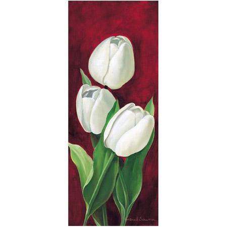 Image - Tulipes sur fond rouge droite - 20 x 50 cm