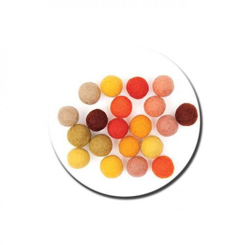 Boule en feutre - Jaune - 1,5 cm