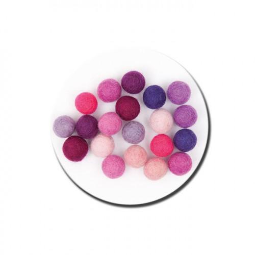 Boule en feutre - Rose et violet - 1,5 cm