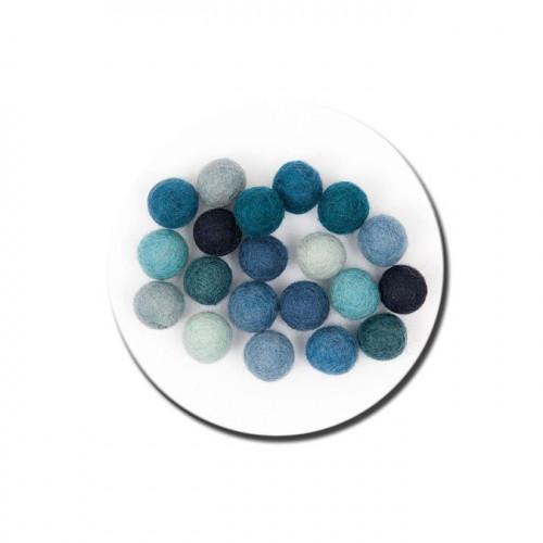 Boule en feutre - Bleu - 1,5 cm