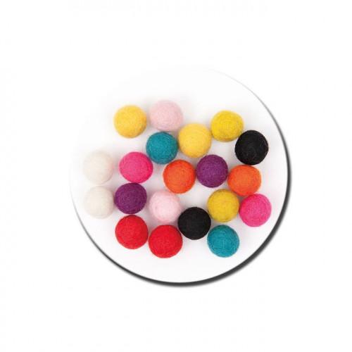 Boule en feutre - Multicolore - 1,5 cm