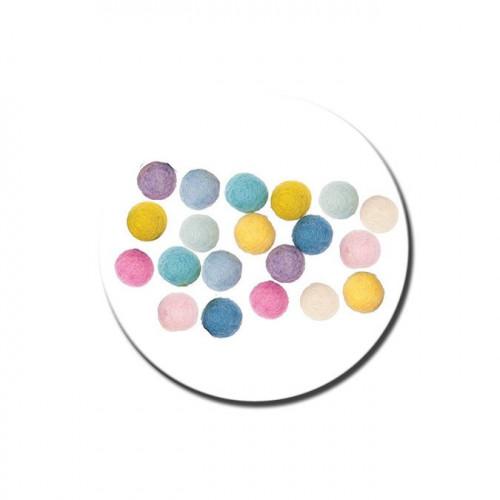 Boule en feutre - Pastel - 1,5 cm
