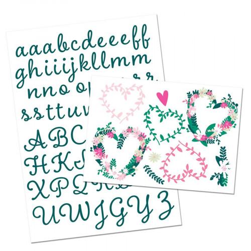 Alphabet et Cœurs, Fleurs thermocollants - vert