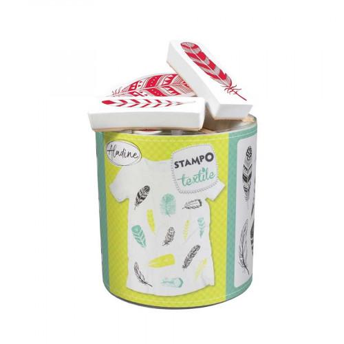 Encreur et 13 tampons Stampo textile Plumes