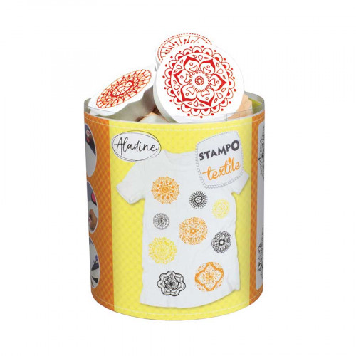 Encreur et 9 tampons Stampo textile Mandala