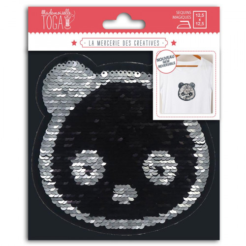 Panda thermocollant en sequins réversibles