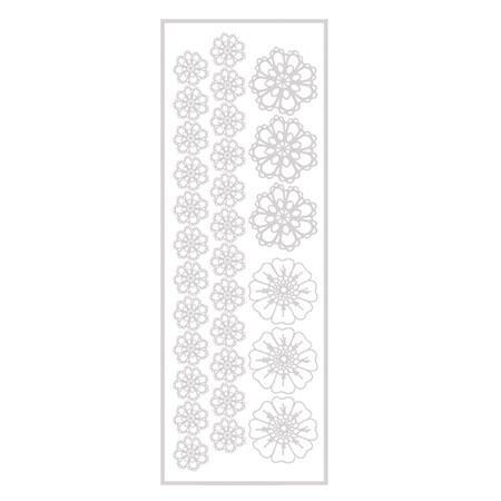 Transfert thermocollant - Effet broderie en relief - Fleurs crochet - blanc