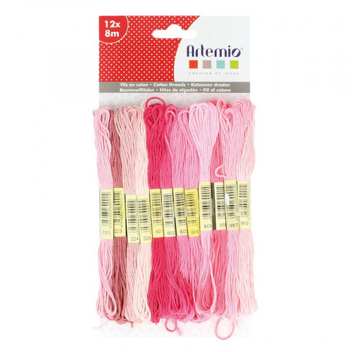 Assortiment de 12 x 8 m de fils coton - rose