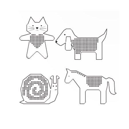 Carton à broder - Chien/cheval/escargot/chat - 8 pcs