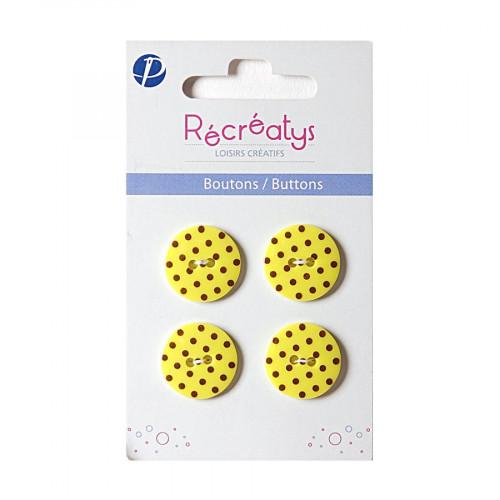 Boutons de customisation - jaune à pois marron - 1,8 cm - 4 pces