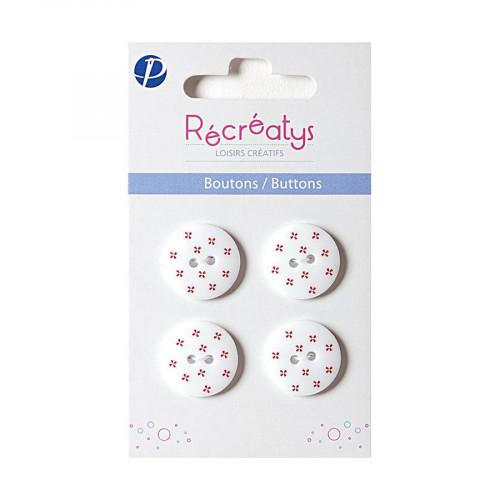 Boutons de customisation - blanc à fleurs rouges - 1,8 cm - 4 pces