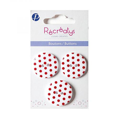 Boutons de customisation - blanc à pois rouges - 2,5 cm - 3 pces