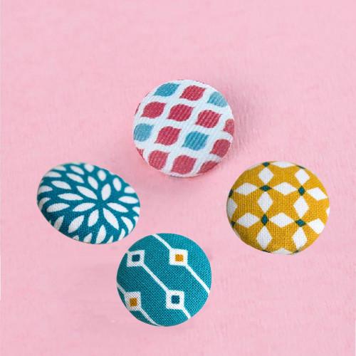 Kit Boutons à recouvrir - boutons, outil et tissu