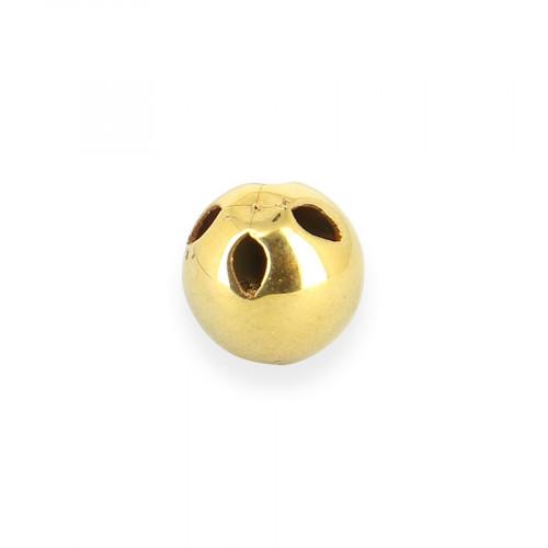 Bouton boule 4 trous en métal - Or brillant - 10 mm