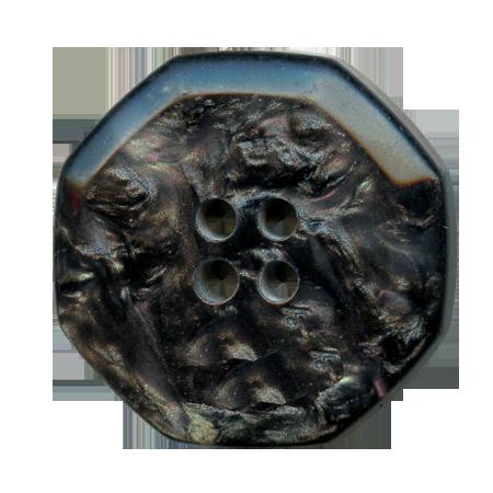 Bouton 2 trous ''hexagonale''  noir - 2,3 cm