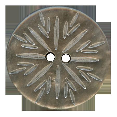 Bouton 2 trous ''gravure épi'' gris clair - 2,7 cm