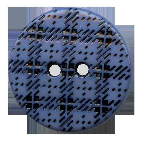 Bouton 2 trous ''écossais'' bleu gris - 1,5 cm