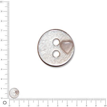 Bouton 2 trous ''coeur rapporté'' rose clair - 1 cm