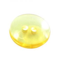 Bouton 2 trous transparent jaune - 1,4 cm
