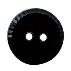 Bouton 2 trous ''façon jais'' noir - 1,2 cm