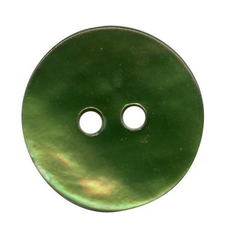 Bouton 2 trous nacre vert pelouse - 3,4 cm
