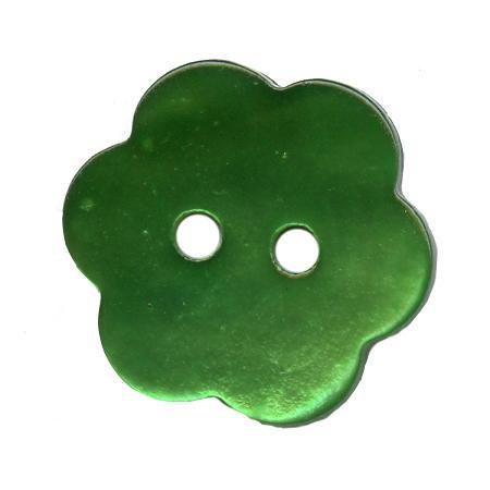 Bouton 2 trous  nacre'' fleur'' vert pelouse - 1,8 cm