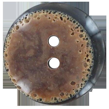 Bouton 2 trous  marron - 1,5 cm