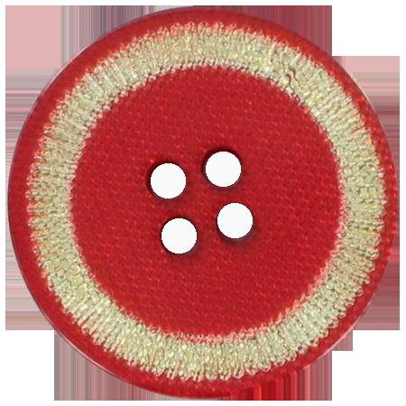 Bouton 4 trous rouge doré - 1,5 cm