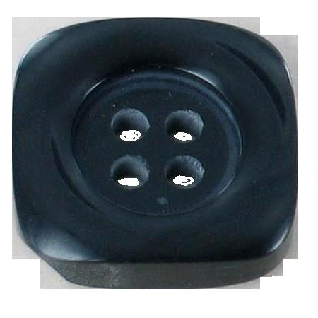 Bouton 4 trous carré noir - 2,2 cm