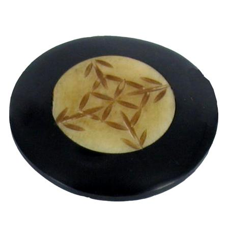 Bouton à queue corne et os  noir - 4,3 cm