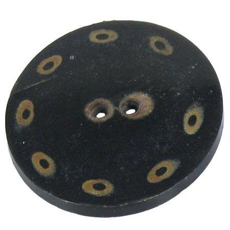 Bouton 2 trous corne noir - 5,1 cm