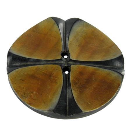 Bouton 2 trous corne noir et naturel - 5,7 cm