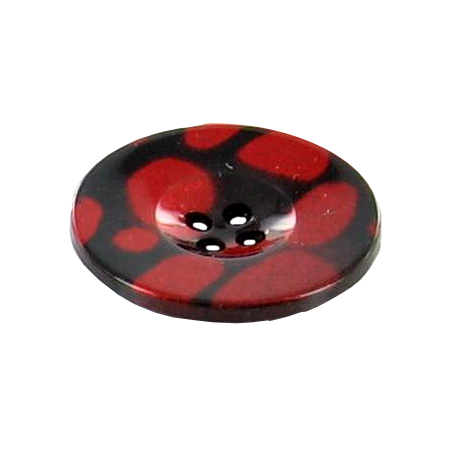 Bouton 2 trous tacheté rouge - 2,5 cm