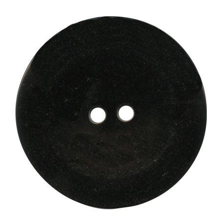 Bouton 2 trous noir brillant - 1,5 cm