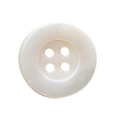 Bouton 4 trous nacre véritable blanc - 1 cm
