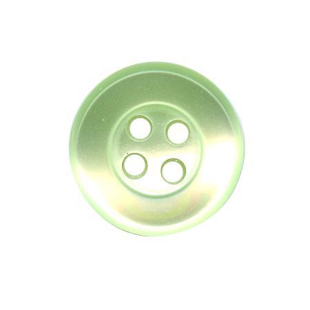 Bouton 4 trous vert anis - 1,2 cm