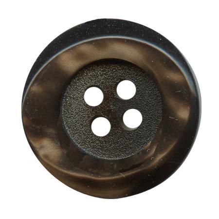 Bouton 4 trous galalith marron - 2,3 cm
