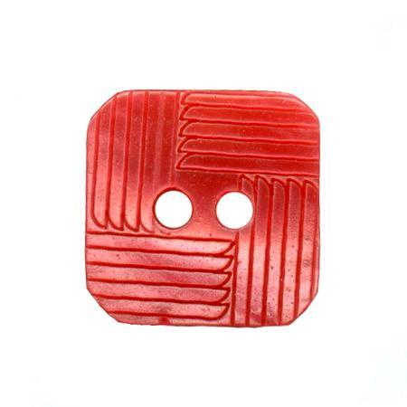 Bouton 2 trous carré framboise - 1,4 cm